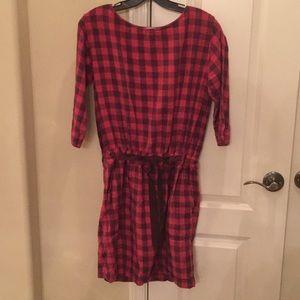 Gap plaid drawstring waist dress